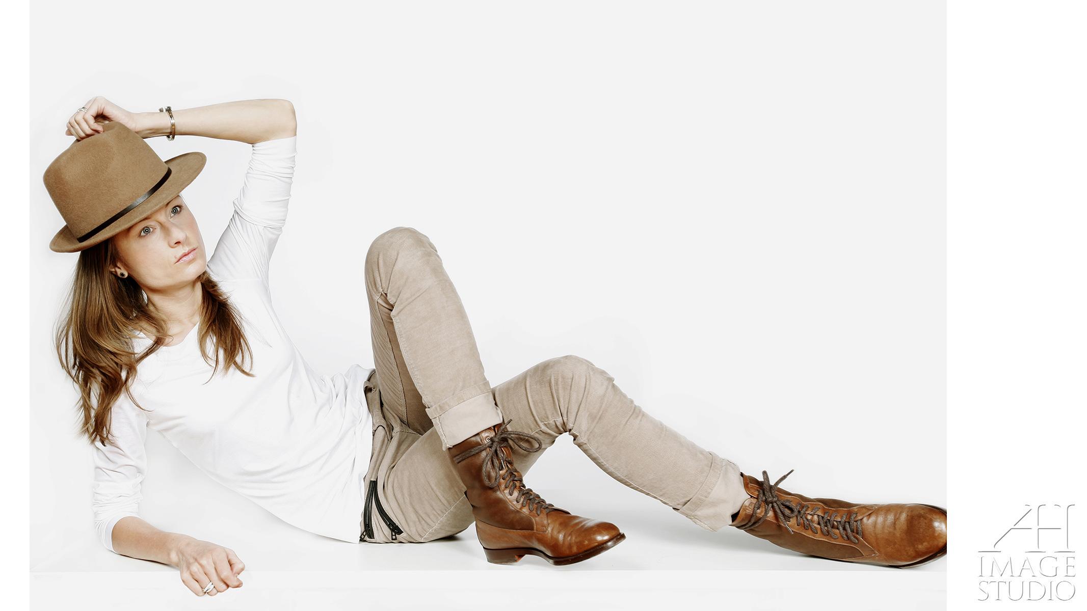bermondsey studio portrait hat boots fashion lighting model self-portrait studio