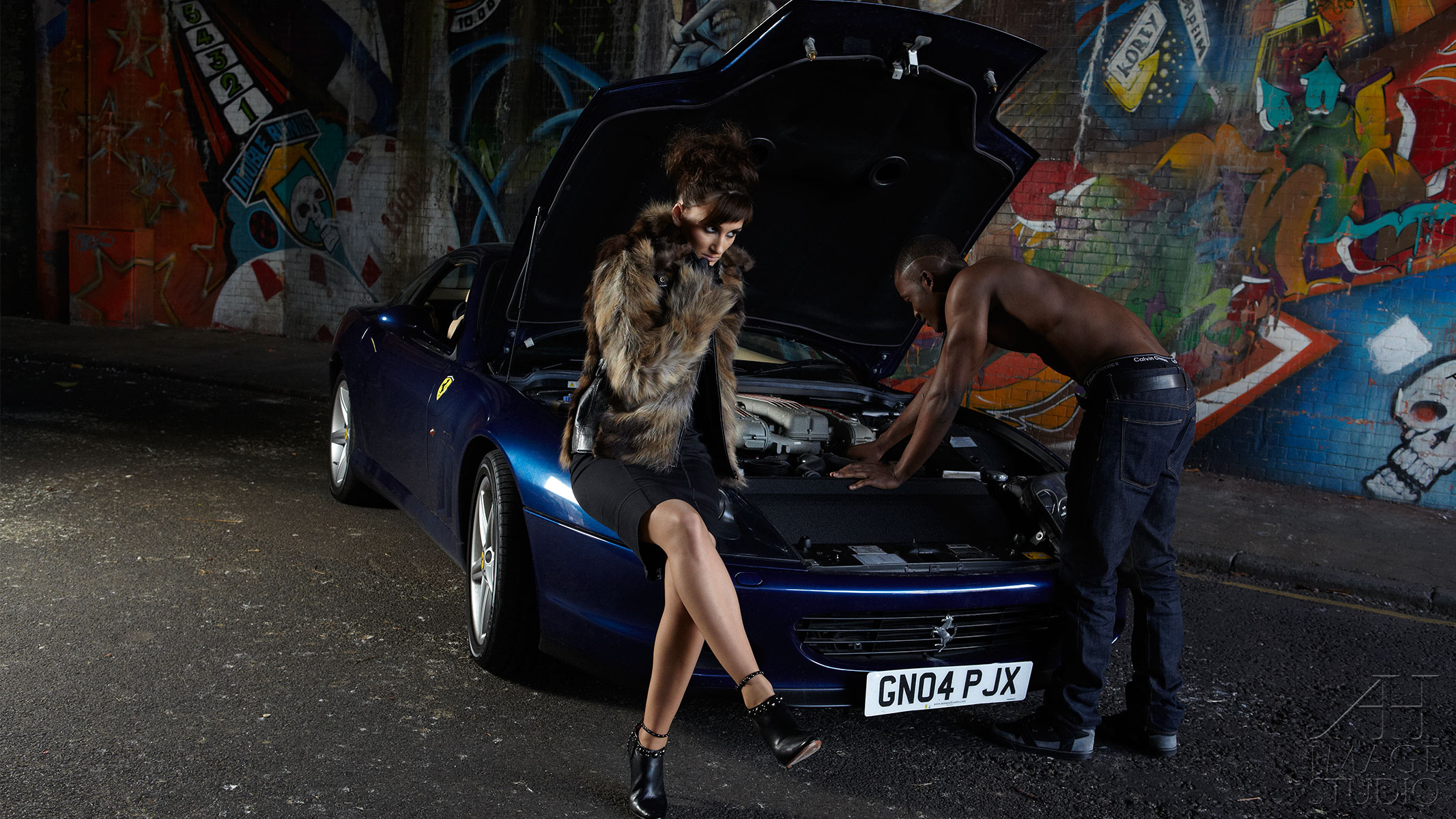 Ferrari photo shot interacial couple fashion lifestyle photography